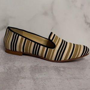 Cole Haan Tan Cream Black Stripe Rattan Shoes 9.5